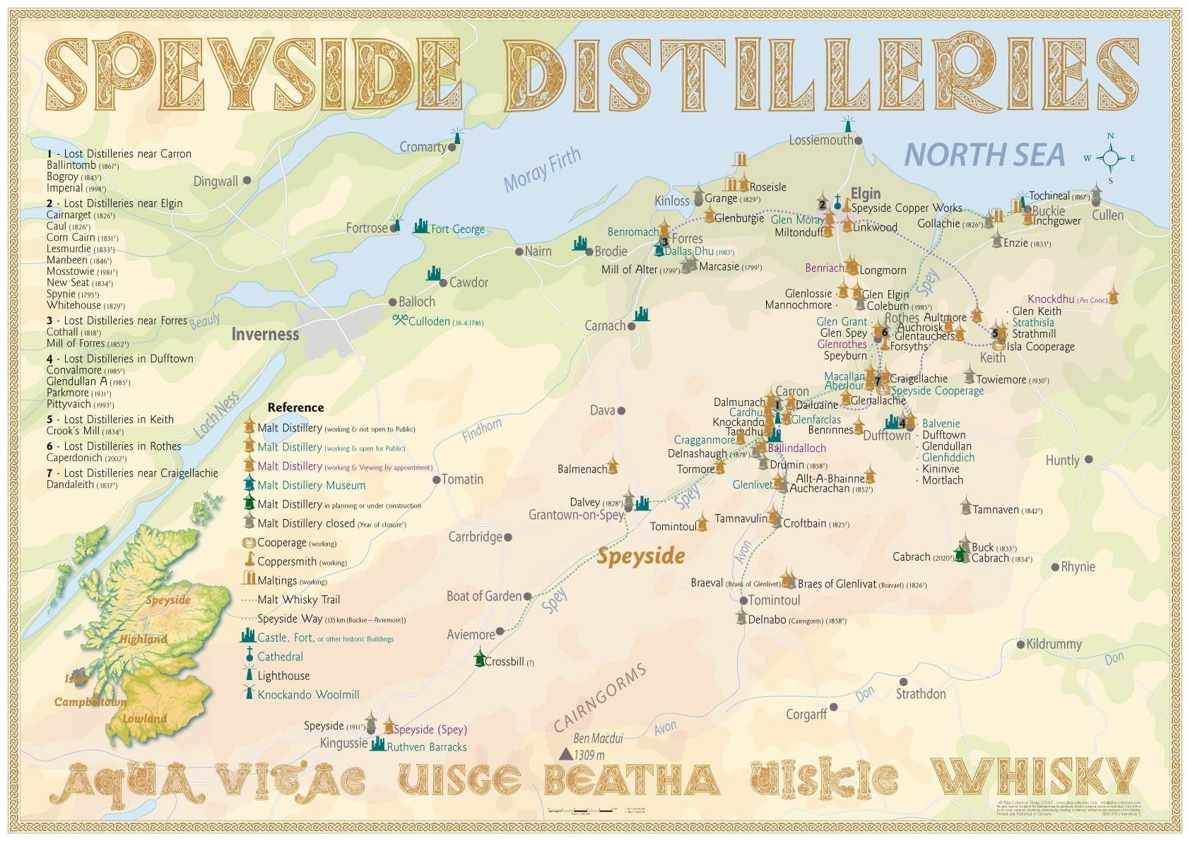 Exklusiv Eine Karte Der Speyside Distilleries Whiskyexperts