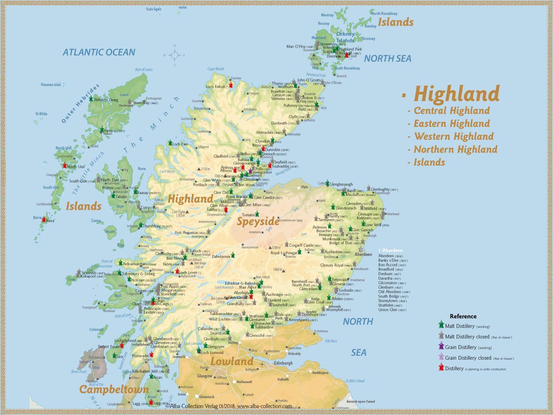 Schottland Karte Whisky.Eine Karte Der Highland Destillerien Whiskyexperts